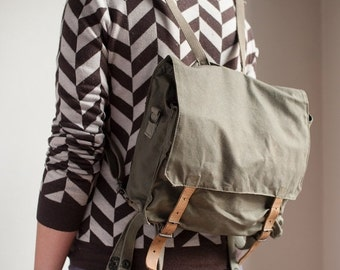 ON SALE Vintage Deadstock Yugoslavian Army Satchel Bag Survival Kit Rucksack Military Canvas Backpack
