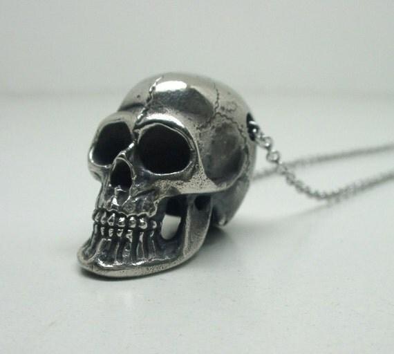Human Skull Necklace, White Bronze