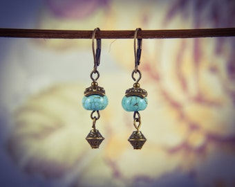 Turquoise and Bronze Oriental Gemstone Earrings [E77]