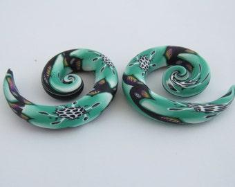 Ear plugs, Artisan ear plugs, spiral, hooks ear plugs, turquoise green ear plugs, Twist, Spiral, Hooks,  2g, 0g, 00g, 7/16' , 1/2', 9/ 16.