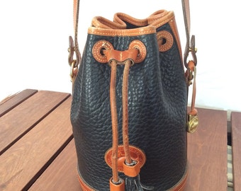 Great Authentic Vintage Dooney and Bourke Navy Blue and Tan Leather Bucket Shoulder Drawstring Bag Purse Made in U.S.A.