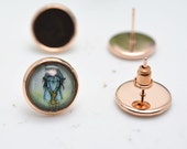 Stud Earrings -20pcs Rose Gold Plated Brass 10mm,12mm Round Cameo Cabochon Base Setting Ear Studs LB507-1/LB507-2