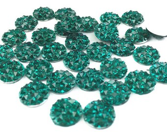 50pcs Wholesale Cabochons 10mm Round Resin Druzy Cabochon Glitter Resin Cabochons 303-2