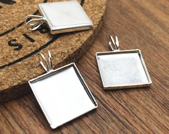 15pcs 12x12mm Silver Plated Brass Square Cameo Cabochon Base Setting Pendant LB209-3