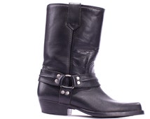 COWBOY Boots 80s Black Leather Boot Cowgirl Cowboy Western Country Biker Rocker Cuban Heel Riding Boot Women US 7.5, Eur 38,UK 5