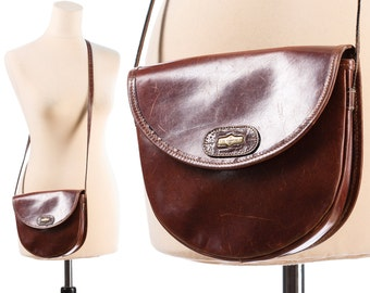 Brown Leather Satchel Bag 70 SMALL Saddle Bag Distressed Shoulder Crossbody Little Hippie Woman Purse Handbag Pouch Festival Bag Retro