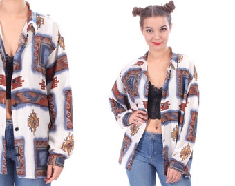 Aztec Shirt 80s GEO PRINT Shirt 90s Tribal Festival Faded Jacket Ethnic Bohemian Boho Hippie Vintage White Blue Beige Cotton Medium to Large