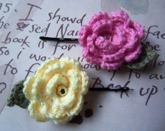 Set of Two Crochet Flower Hair Pins. Pink and Yellow Flower Hair Pins. Handmade Hair Accessories.