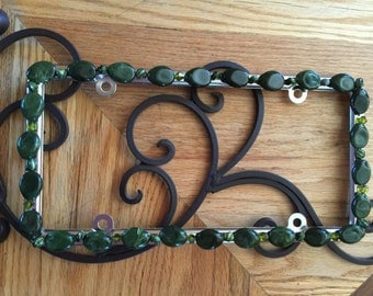 Bling License Plate Frame - Olive Drab Green Marbled Beaded #456192054