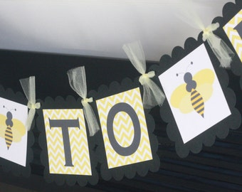 Mommy to Bee Yellow Black Chevron Bee Theme Banner - Ask About Our Party Pack Specials- Free Shipping Over 65.00