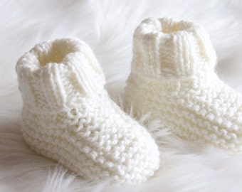 Hand knitted Booties for Baby Boy or Girl NB to 12M Made to Order Custom Colour