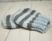 Newborn Merino Mittens, Ice Blue & Grey Stripe - Ready to Ship