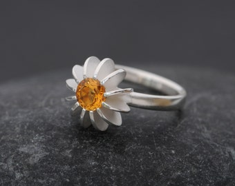 Citrine Ring  -  Silver Citrine Ring - Sea Urchin Ring - Sterling Silver Ring - Made to Order - FREE SHIPPING