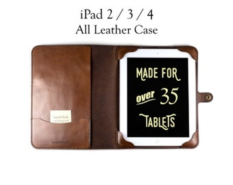 iPad 2 / 3 / 4 Case, All Leather - No Plastic - Free Inscription