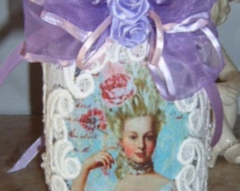 Mason Jar, Marie Antoinette, Altered Jar, Purple Mason Jar, Embellished Jar, Satin Rose, Lace Covered Jar