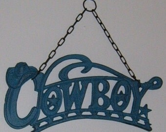 Cast Iron, Cowboy Wall Hanging, Western Decor, Cowboy, Wedding, Painted, Upcycled,