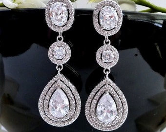 Bridal Earrings 3 Drops Large Halo Clear White Long Peardrop Round Cubic Zirconia Drops White Gold Plated CZ Oval Post Earring