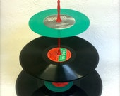 3 tier Green Vinyl Record Cupcake Stand Retro Cake Stand Green Red