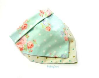 Kari - Light Blue Polka Dot Floral & Gold, Light Blue and Pink Triangle Colored Reversible Bandanna Bib   One Size  
