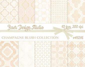 DIGITAL PAPER COMMERCIAL:Champagne Digital Paper, Quatrefoil Digital Paper, Hochzeitseinladung, Wedding Digital Paper, #41216