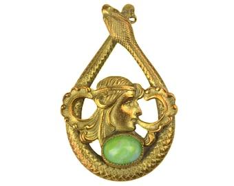 Antique Art Nouveau Maiden & Snake Pendant // Art Deco Green Cabochon Brass Teardrop Coiled Serpent Goddess