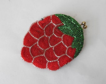 Beaded Strawberry Coin Purse