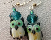 Small owl earrings with crystal and dichroic glass beads on sterling silver French ear wire with gold accent bead blue green earrings