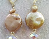 Jumbo blister pearl coin pearl earrings with Chinese crystals and sterling silver leverbacks