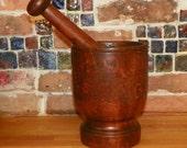 Primitive Antique Bowl Mortar Pestle Wood Walnut Wooden  Farm Barn Butter apothecary