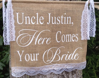 Here Comes The Bride Banner, Burlap Banner, Burlap Wedding, Personalized Banner, Wedding Banner, Burlap and Lace Banner, Rustic Wedding