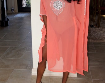 Coral and Silver Embellished Caftan