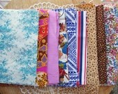 "38 QUILT SQUARES + FABRIC 5""x7"" Blues Browns Cotton Scrappy Charm Sew Stash"