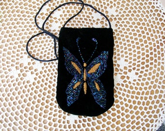 Black Velvet CELLPHONE POUCH Blue Beaded Butterfly Mini Neck Purse Cell Phone Bag Android Iphone Gadget - Ships free in US