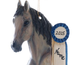 Show Horse Christmas Ornament personalized with your favorite equine or equestrians name written on the blue ribbon made in the USA  (305)