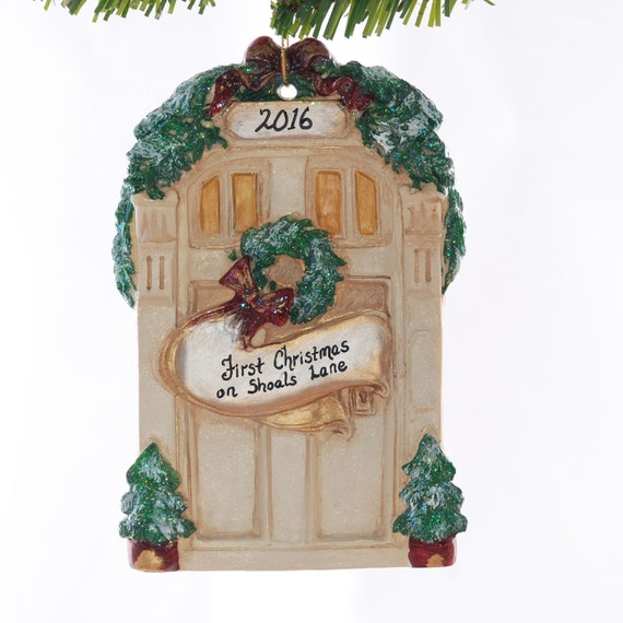 Tan personalized ornament front door christmas tree ornament for First apartment ornament