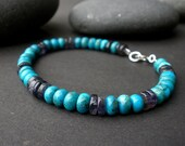 Blue Green Turquoise Rondelle, Iolite Heishi 6mm - 925 Sterling Silver Men Bracelet, Women Bracelet, Unisex Bracelet, Denim Bracelet