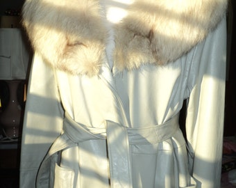 Vintage Full Length Light Grey Leather Coat with a Great Silver White  Fox Fur  Collar, A Super Seventies Period Piece in Mint Condition