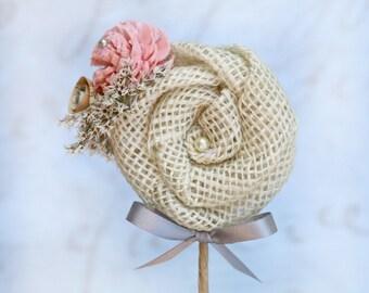 Peach Flower Boutonniere// Burlap Boutonniere, Vintage Book Flower, Sola Wood Flower, Dried Flower, Wedding, Lapel Pin, Buttonhole, SunnyBee