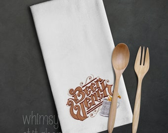 Machine embroidered kitchen towel, Cooking Fun theme, huck towel, 100% cotton