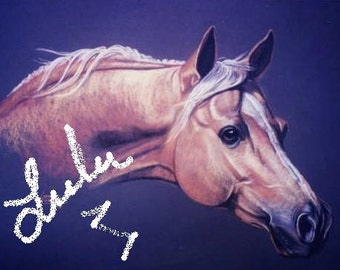 print,beautiful, Horse, pastel, pencil, technique, drawing, gift
