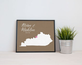 Kentucky Personalized Wedding Art, State Map Print, Bride & Groom Names and Date, Any State Available, Choice of Colors