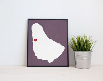 Barbados Map - Custom Personalized Heart Print - Hometown Wall Art - Gift Souvenir