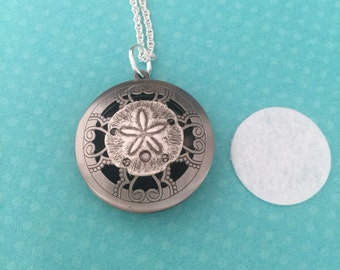 Sand Dollar Locket Silver Essential Oil Diffuser Necklace
