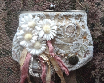 Vintage Beaded Handbag, Decorated Purse, Small Bridal Purse, Wedding Purse, Upcycled Handbag, Made in France, Shabby Chic Microbead Purse,