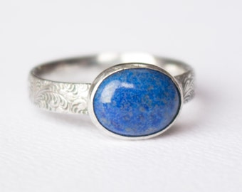 Lapis Lazuli Ring , Sterling silver Ring Lapis Lazuli , Denim Blue ring , Sterling silver ring, Lapis ring , Oval Lapis ring,  Lapis Jewelry