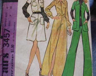 McCalls 3457 dress and jacket pattern, side zip pants pattern, bust 40, hip 42, 1970s pattern, front slit dress, zip front jacket