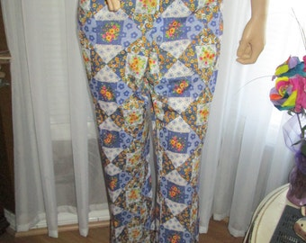 1970's Male Poly Knit Geometric Print/Shape Floral SLACKS by ETONIC by Eaton