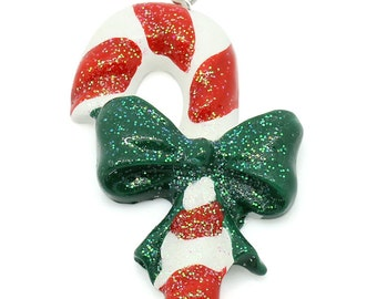 10 Candy Cane Pendants -  WHOLESALE - Multicolor - Christmas - Green Bow - 43x28mm - Ships IMMEDIATELY from California - SC1303a