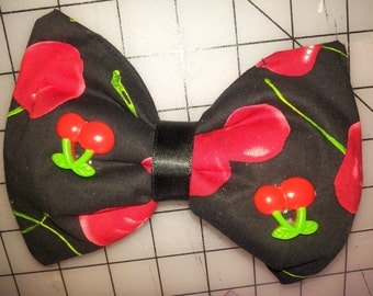 ON SALE - Rockabilly Cherry black red padded One of A Kind Hairbow