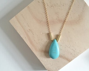 Turquoise Howlite Drop on 14K Gold Filled Necklace